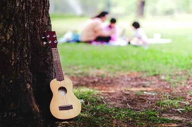 Picnic di rilassamento della famiglia di concetto in parco