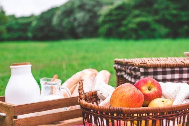 Picnic estivo con un cesto di cibo nel parco.