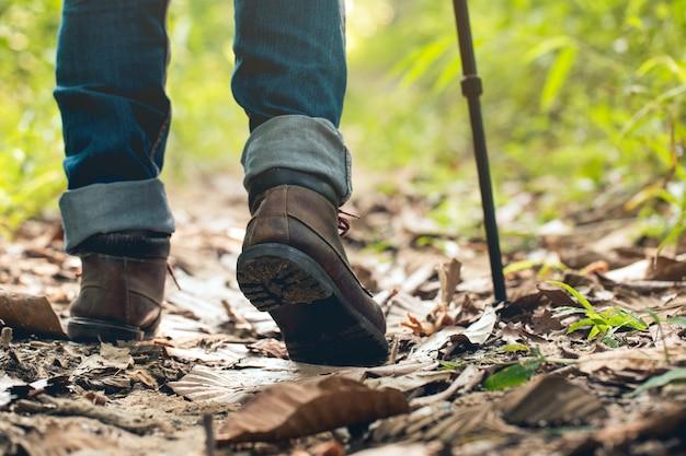 Piedi uomo escursionismo all'aperto e foresta sullo sfondo concetto di sopravvivenza di stile di vita di viaggio