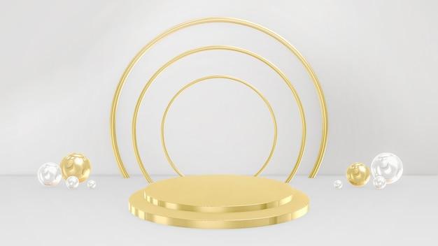 Piedistalli 3d, base, palco. minimo circolare e sferico nei colori oro e bianco.