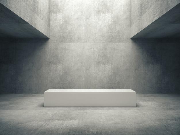 Piedistallo bianco nella stanza di cemento