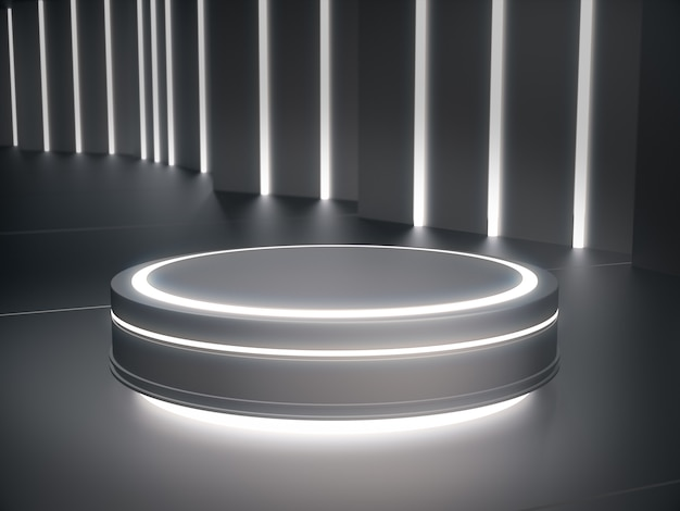 Piedistallo con bagliore di luce per la vetrina del prodotto in una stanza futuristica.