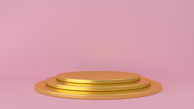 Piedistallo d'oro e sfondo rosa.