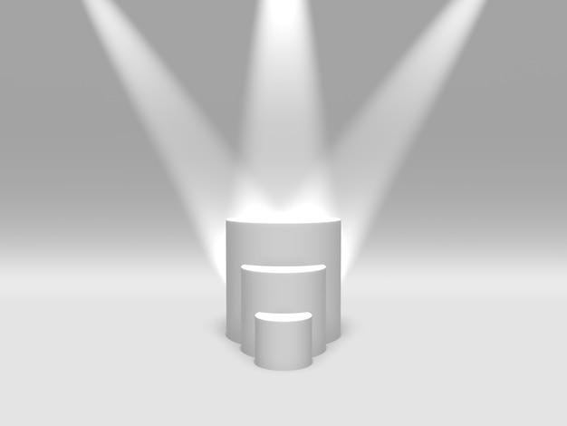 Piedistallo del podio o colore bianco della piattaforma illuminato dai riflettori sulla rappresentazione bianca del fondo 3d