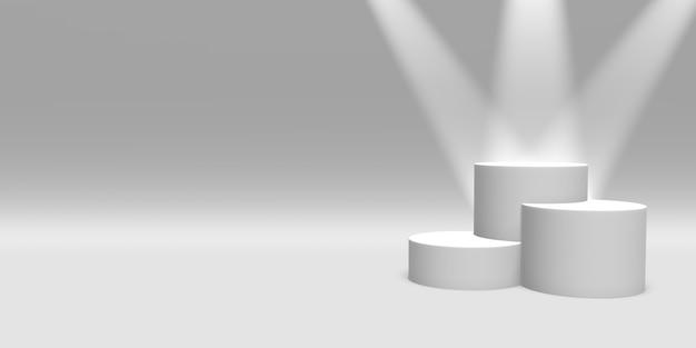 Piedistallo del podio o colore bianco della piattaforma illuminato dai riflettori sulla rappresentazione bianca di background3d