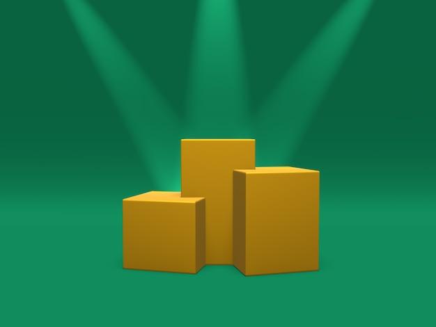 Piedistallo del podio o colore dell'oro della piattaforma illuminato dai riflettori sulla rappresentazione verde del fondo 3d