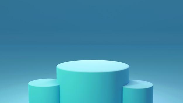 Piedistallo del prodotto, blu e verde, forma cilindrica. rendering 3d
