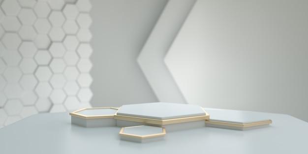 Piedistallo esagonale bianco e oro con un moderno fondale bianco per presentazione di branding, identità e packaging. rendering 3d.