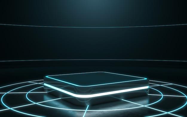 Piedistallo futuristico per esposizione, podio in bianco per prodotto con luce brillante. rendering 3d