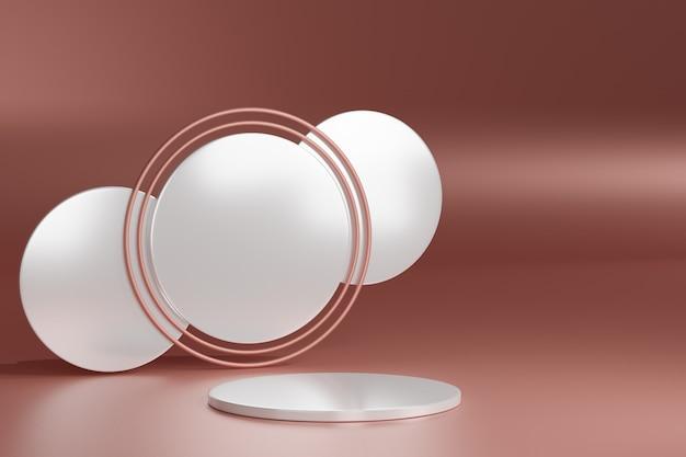 Piedistallo in bianco con l'anello di oro bianco e rosa rotondo, rappresentazione 3d