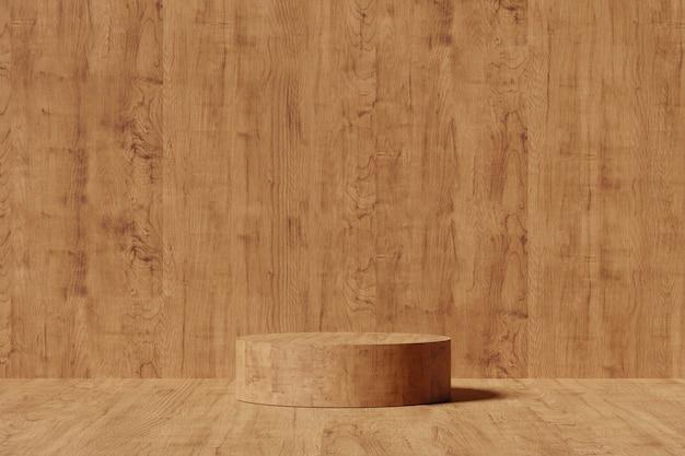 Piedistallo in legno per esposizione. stand prodotto vuoto con forma geometrica. rendering 3d.