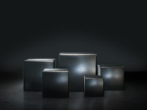 Piedistallo in metallo per display, piattaforma per il design, supporto per prodotto vuoto. rendering 3d.