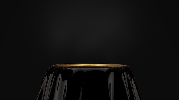 Piedistallo nero con placcatura in oro.