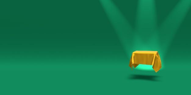 Piedistallo o piattaforma del podio coperto con un panno dorato illuminato da faretti