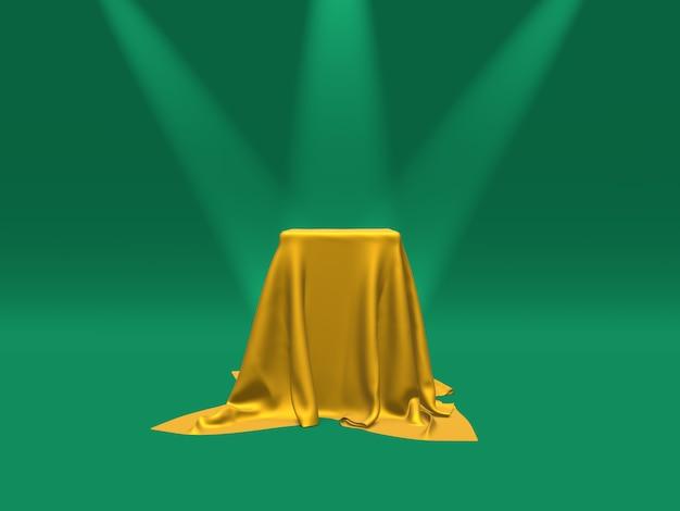 Piedistallo o piattaforma del podio coperto di panno dell'oro illuminato dai riflettori sulla rappresentazione verde del fondo 3d
