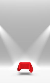 Piedistallo o piattaforma del podio coperto di panno rosso illuminato dai riflettori sulla rappresentazione bianca del fondo 3d