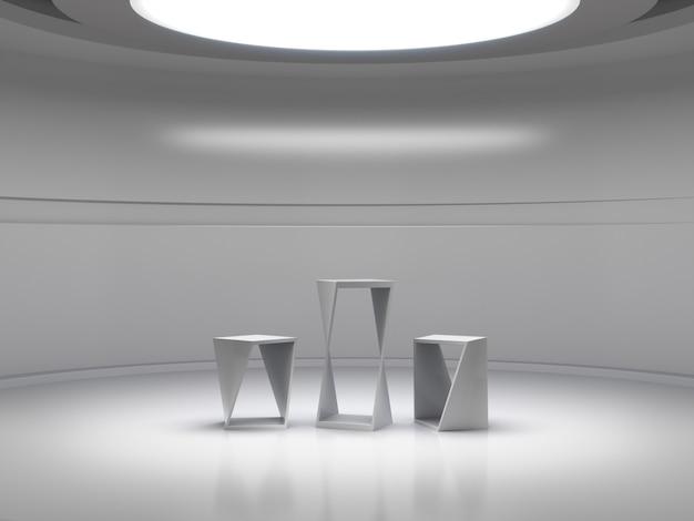 Piedistallo per esposizione nella stanza bianca vuota con luci dall'alto, supporto per prodotto vuoto.