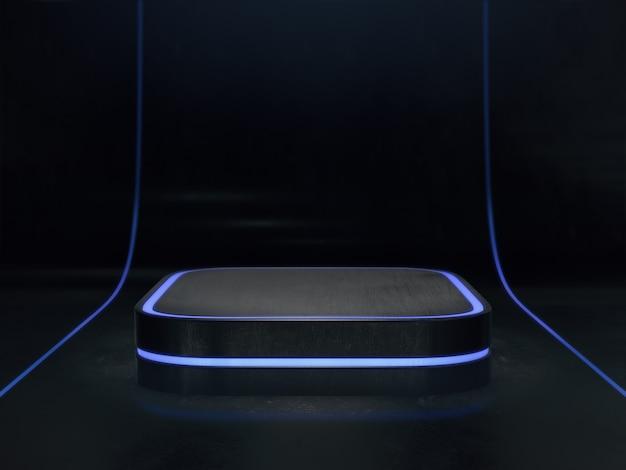 Piedistallo per lo sfondo del display, piattaforma per il design, stand di prodotto vuoto con bagliore di luce. rendering 3d.