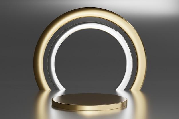 Piedistallo vuoto con anello rotondo in oro su grigio, rendering 3d mockup