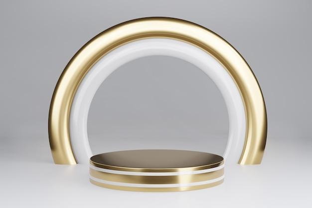 Piedistallo vuoto con cornice rotonda in oro su grigio, rendering 3d mockup