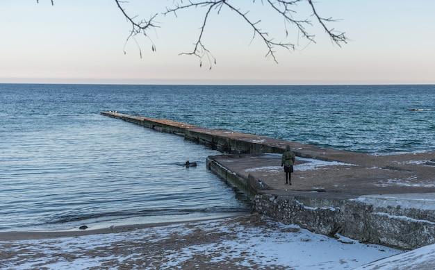 Pier sulla spiaggia in giornata invernale
