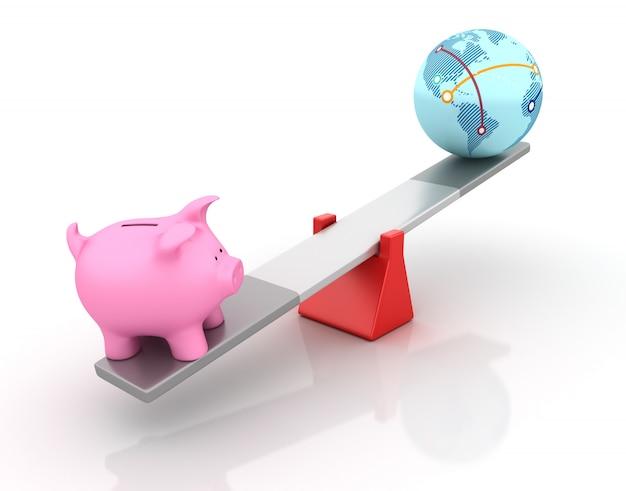 Piggy bank e globe world in equilibrio su un'altalena