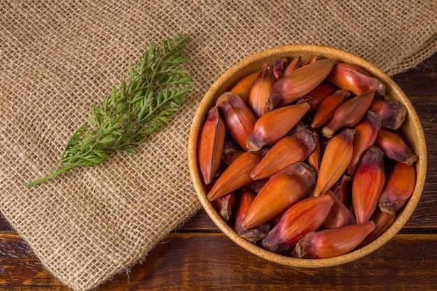 Pignone, cibo tradizionale brasiliano, seme dell'auraucaria