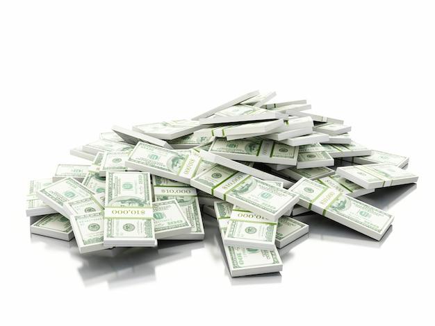 Pila 3d di banconote in dollari americani