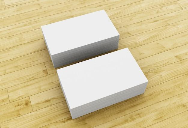 Pila 3d di biglietti da visita in bianco sulla tavola di legno