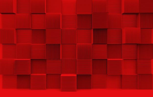 Pila astratta di modello di arte di lusso rosso cubo scatole parete di fondo.