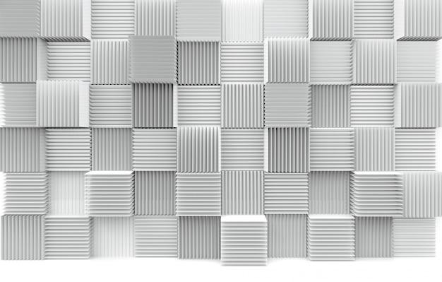 Pila astratta di sfondo del muro di scatole di cubo bianco modello di arte di lusso.