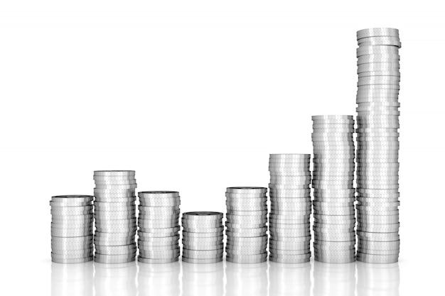 Pila delle monete d'argento su bianco