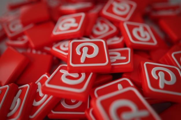 Pila di 3d pinterest logos