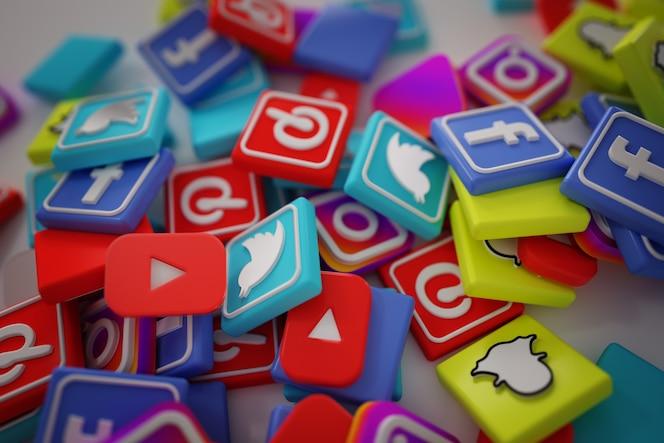 Pila di 3d social media logos popolari