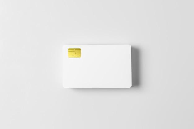 Pila di carte di credito in bianco bianco modello su sfondo bianco.