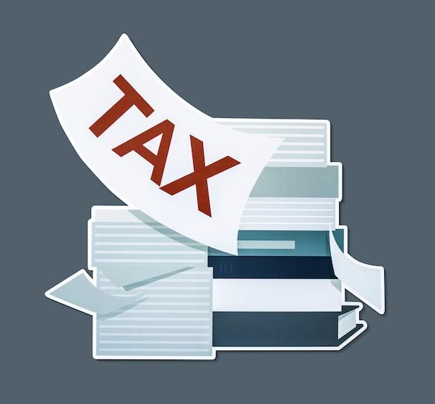 Pila di carte e illustrazione di concetto di imposta