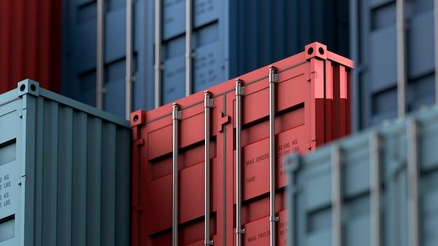 Pila di container box, nave mercantile per la logistica di import export