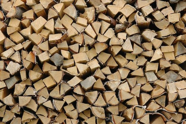 Pila di fondo orizzontale della legna da ardere