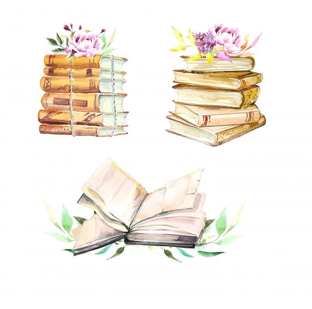 Pila di libri dell'acquerello ed illustrazione dei fiori isolata su bianco