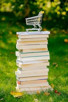 Pila di libri e carrello della spesa sull'erba verde in autunno