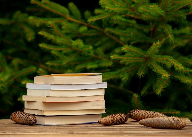 Pila di libri e pigne intorno sulla tavola di legno con i rami attillati su fondo