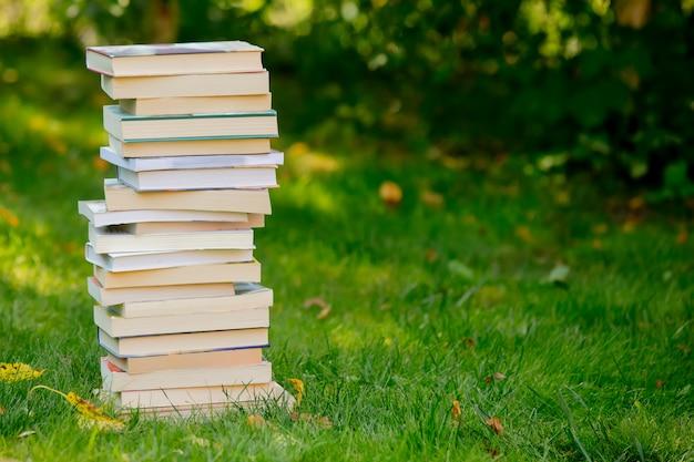 Pila di libri sull'erba verde in autunno