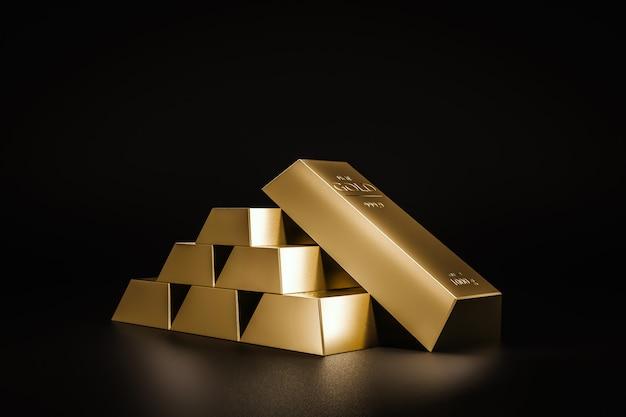 Pila di lingotti d'oro ricchi dal commercio di profitti di aziende in rapida crescita.