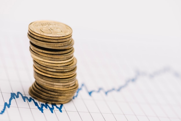 Pila di monete d'oro sul grafico del mercato azionario su carta a riga singola