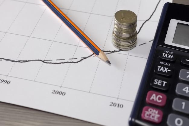 Pila di monete di soldi con carta millimetrata, matita, calcolatrice