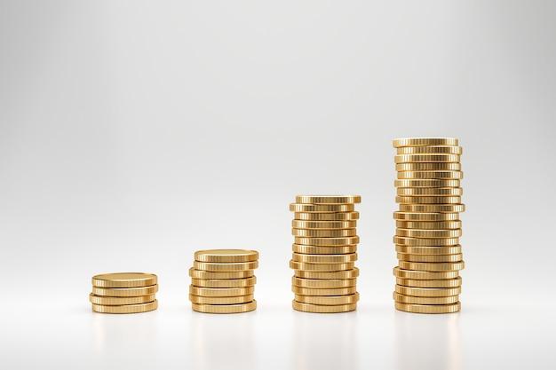 Pila di monete dorate sulla parete bianca con il concetto di profitto dei guadagni. monete d'oro o valuta commerciale. rendering 3d.