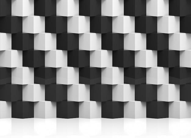 Pila moderna astratta di muro di scatole di cubo bianco e nero di lusso casuale