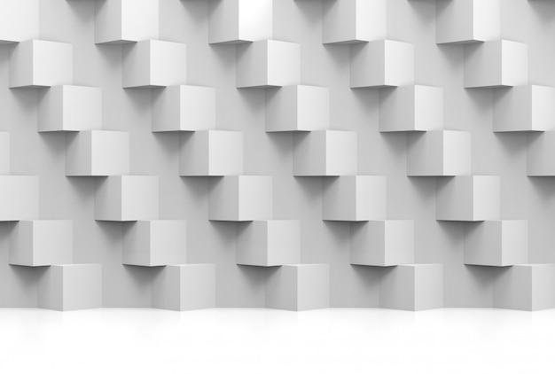 Pila moderna astratta di muro di scatole di cubo bianco lusso casuale