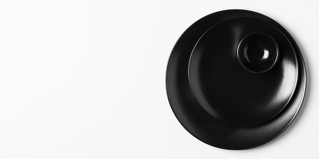 Pila piatta della disposizione dei piatti con lo spazio della copia