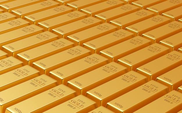 Pila realistica di lingotti d'oro, rendering 3d